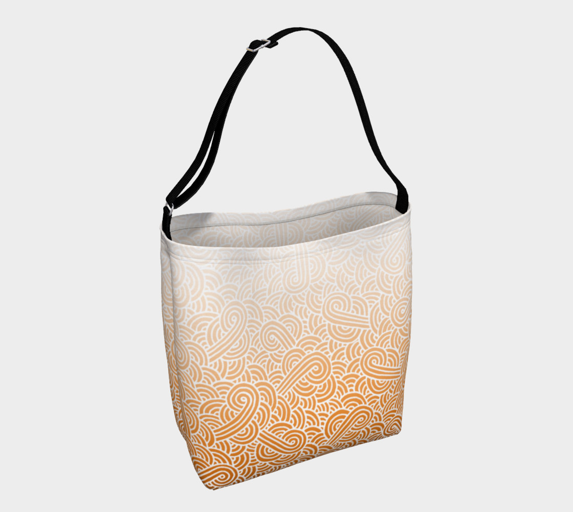 Ombre orange and white swirls doodles Day Tote preview #1