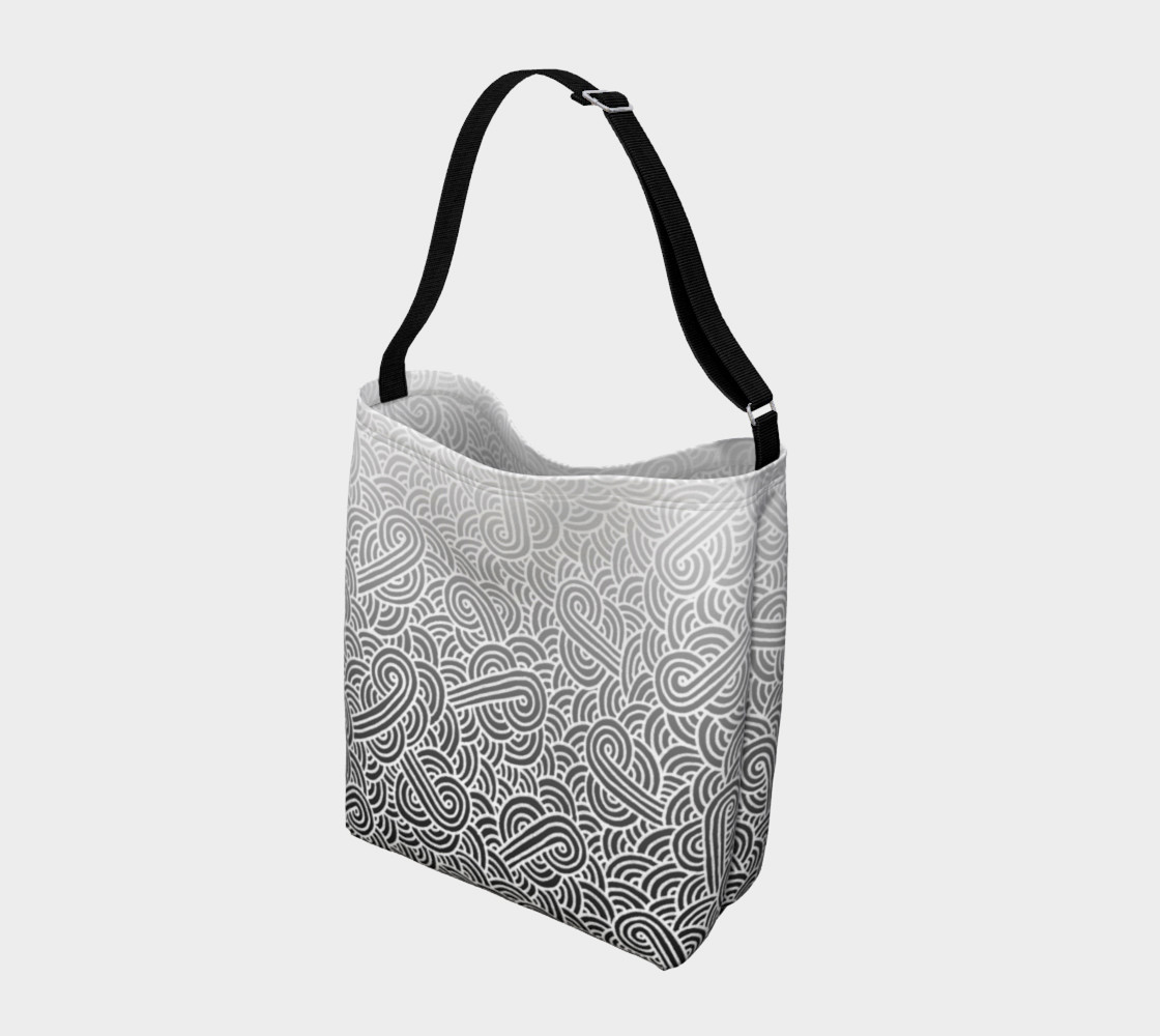 Aperçu de Ombre black and white swirls doodles Day Tote #2