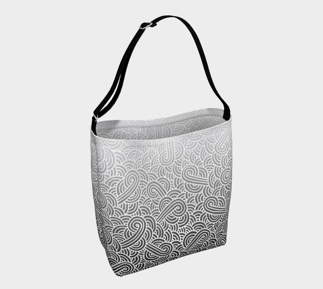 Aperçu de Ombre black and white swirls doodles Day Tote #1