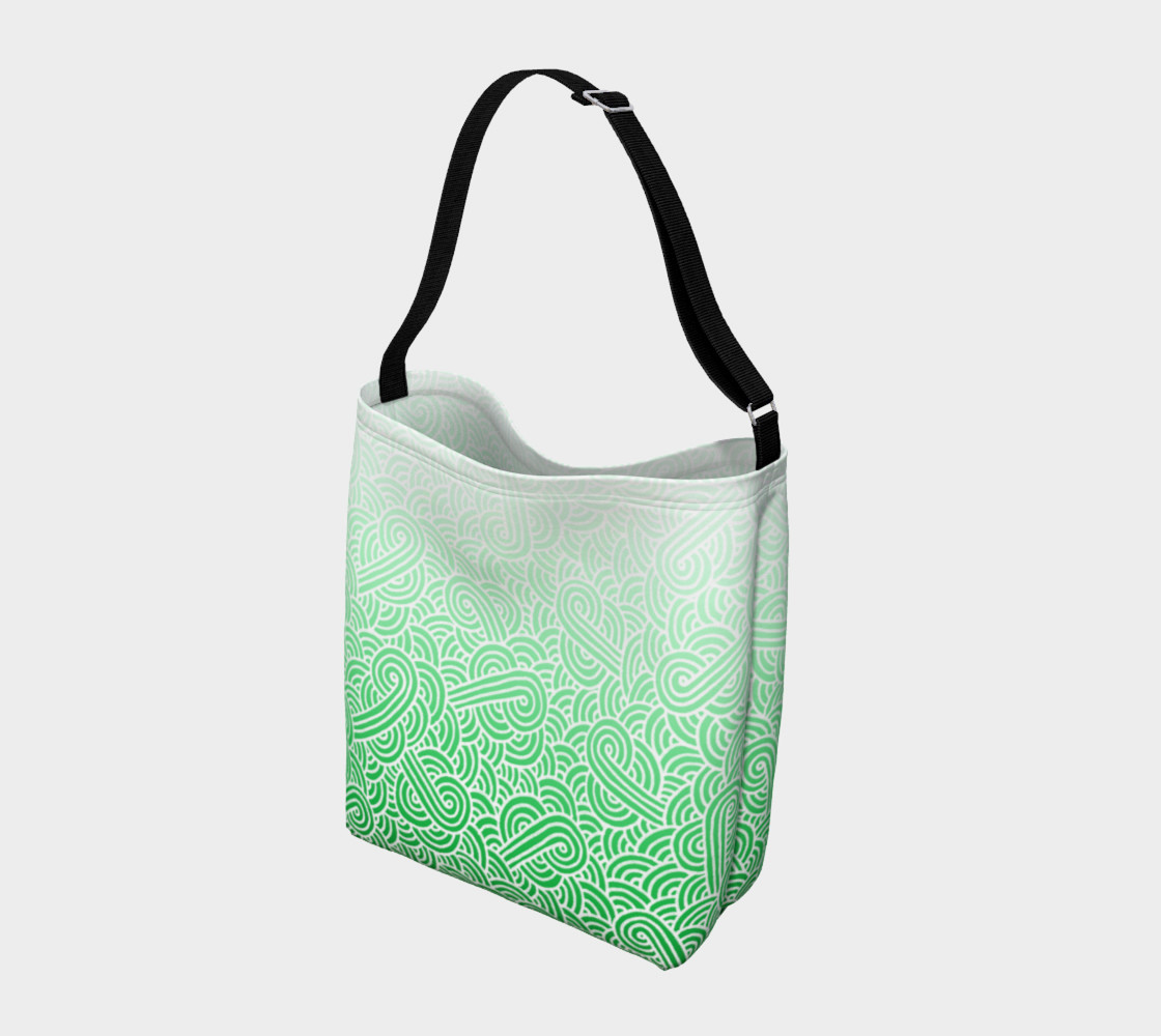 Ombre green and white swirls doodles Day Tote preview #2