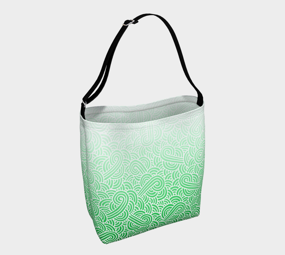 Ombre green and white swirls doodles Day Tote preview #1