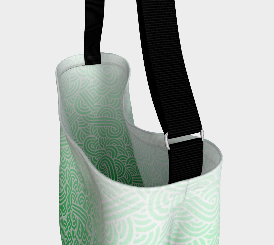 Ombre green and white swirls doodles Day Tote preview #3