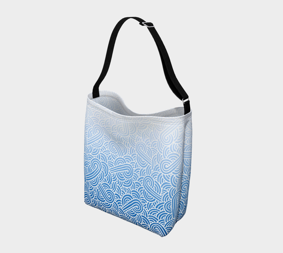 Aperçu de Ombre blue and white swirls doodles Day Tote #2