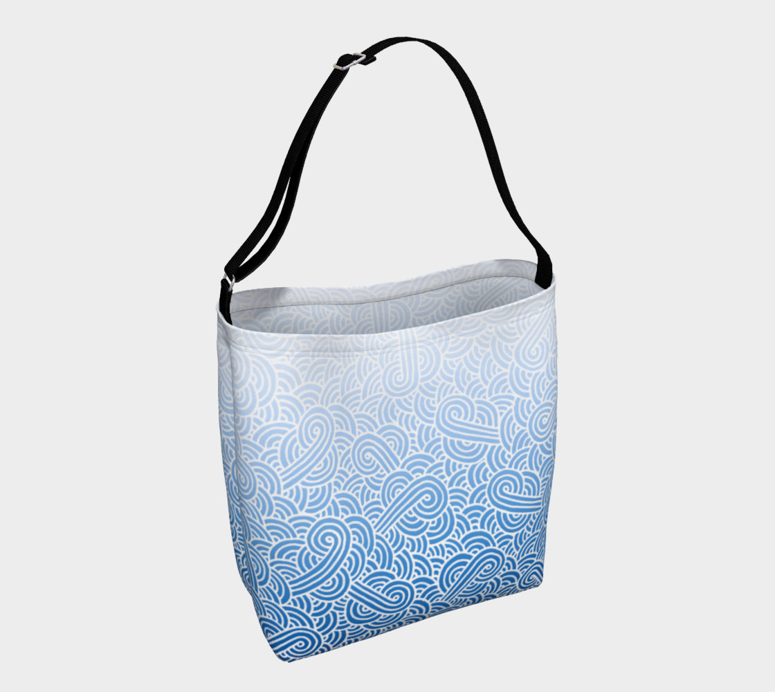 Aperçu de Ombre blue and white swirls doodles Day Tote #1