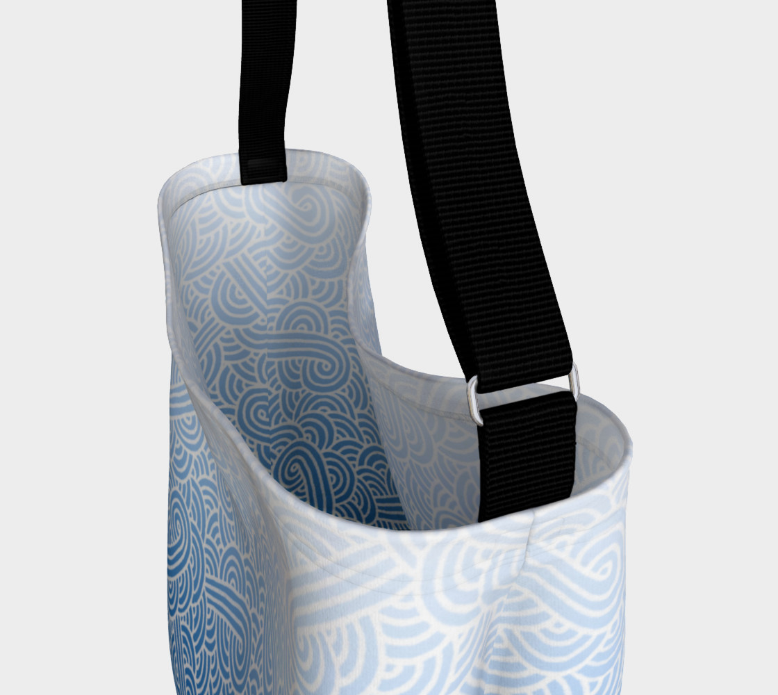 Aperçu de Ombre blue and white swirls doodles Day Tote #3