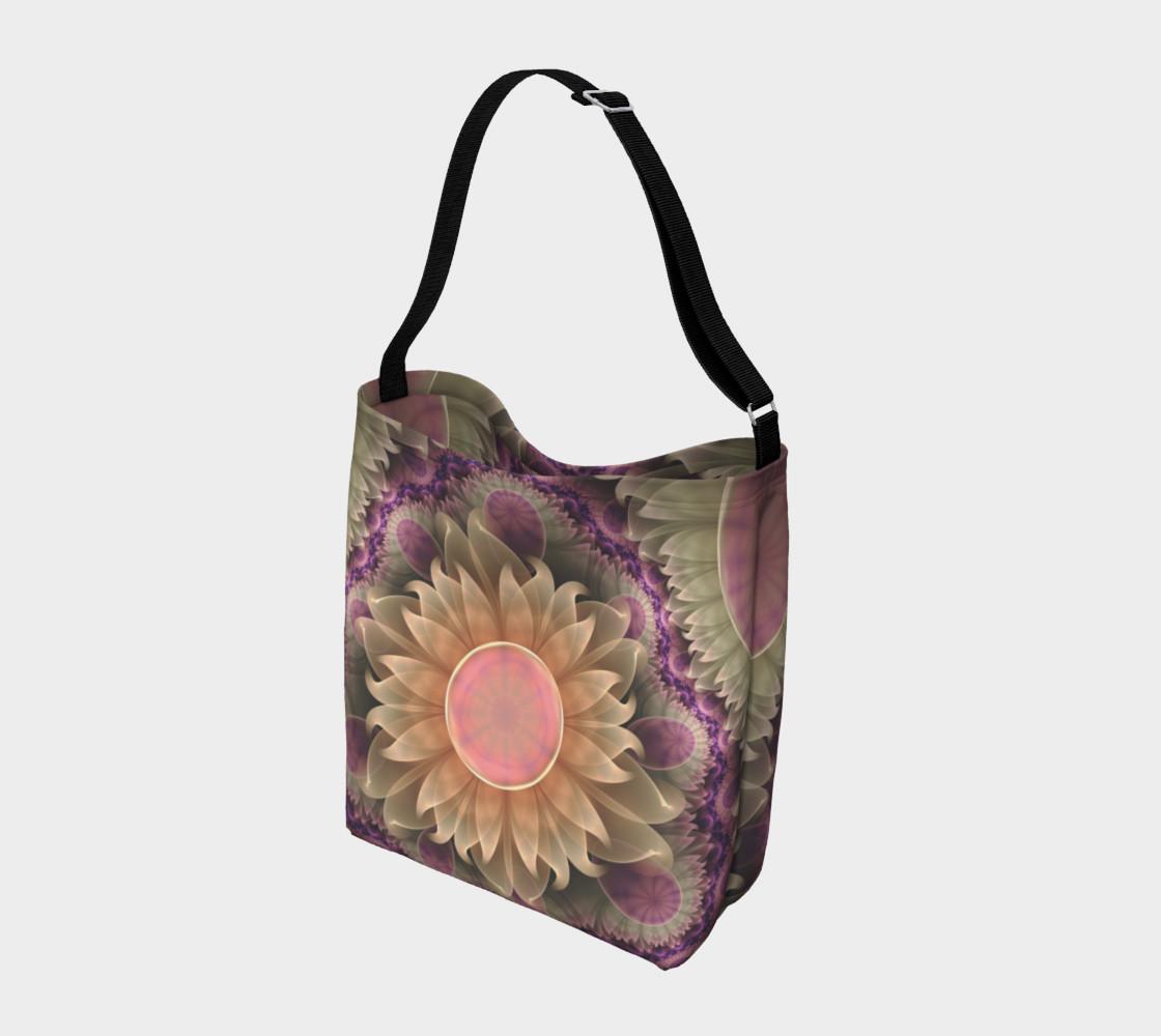 Aperçu de Tote Bag with a Pastel Pearl Lotus Garden of Fractal Dahlia Flowers #2