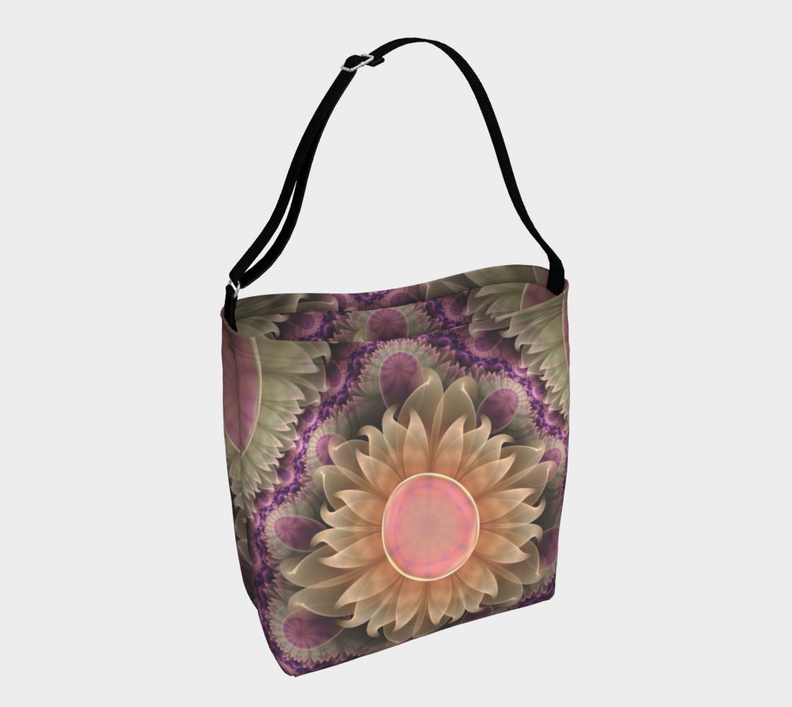 Aperçu de Tote Bag with a Pastel Pearl Lotus Garden of Fractal Dahlia Flowers #1