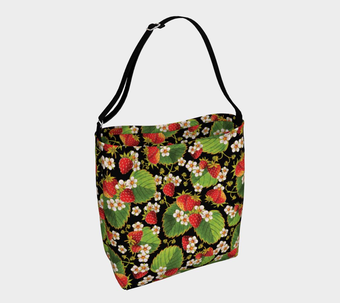 Aperçu de Strawberries on Black Day Tote Bag #1