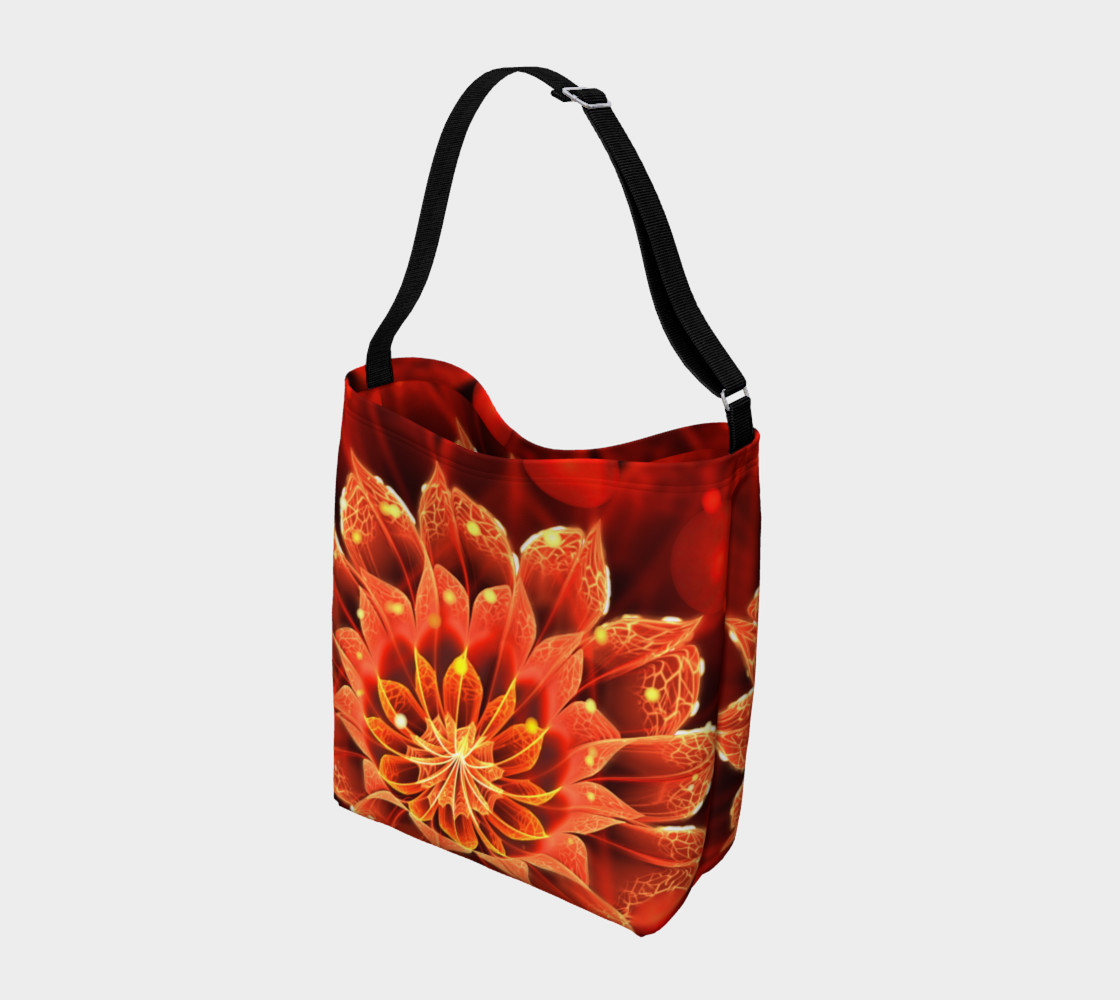 All Day Tote Bag with a Beautiful Ruby Red Dahlia Fractal Lotus Flower preview #2