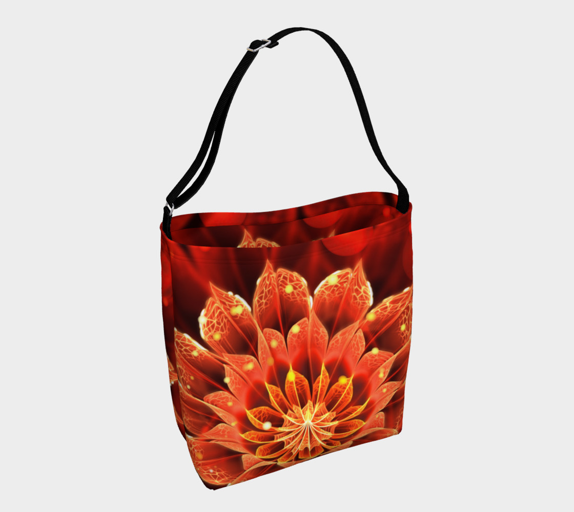 All Day Tote Bag with a Beautiful Ruby Red Dahlia Fractal Lotus Flower preview #1