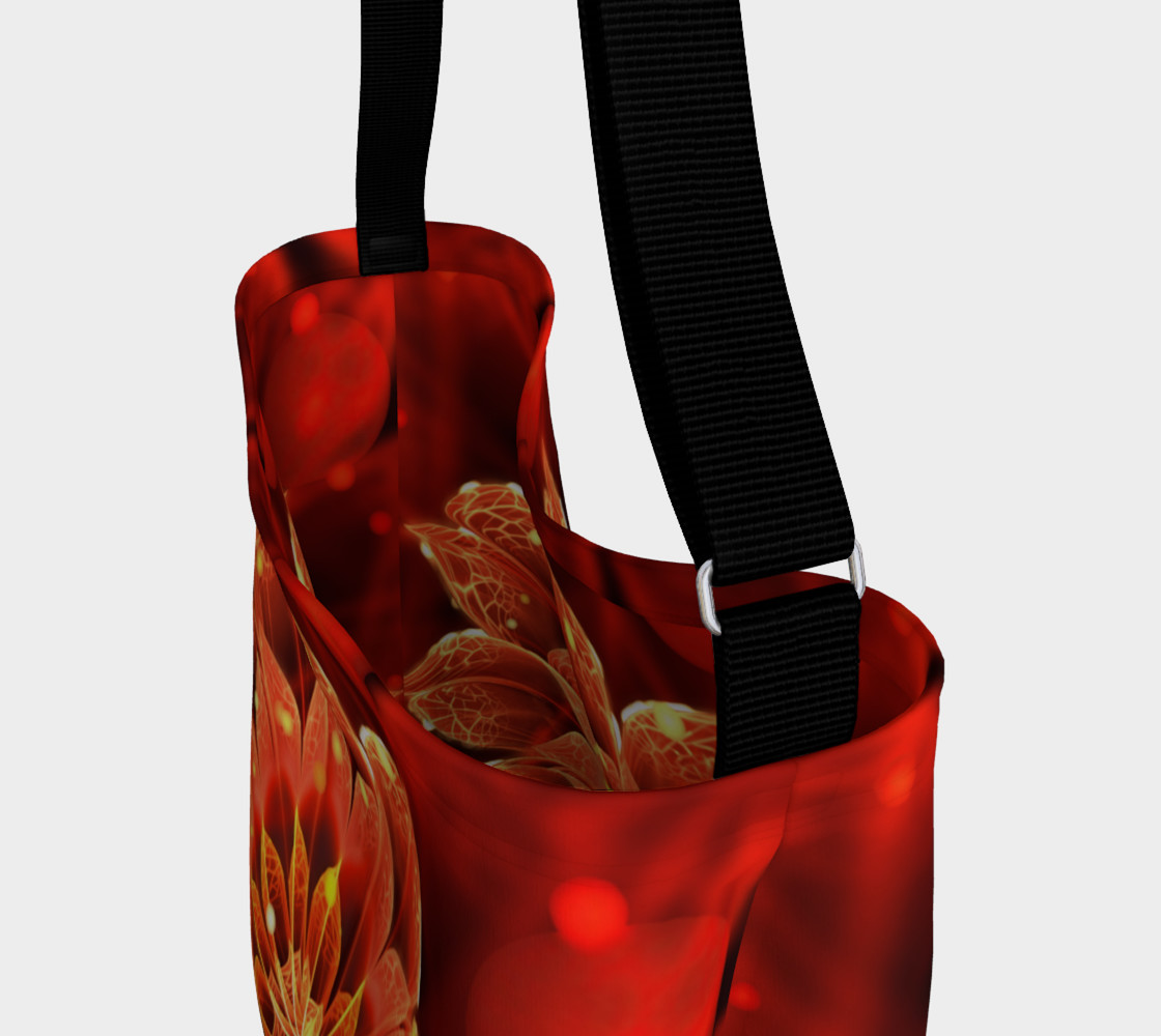 All Day Tote Bag with a Beautiful Ruby Red Dahlia Fractal Lotus Flower preview #3