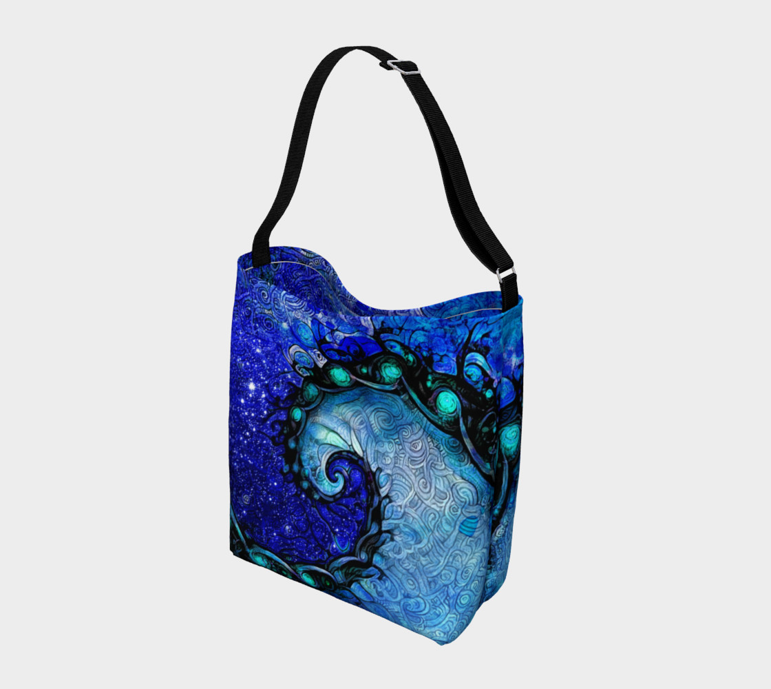 Aperçu de Day and Night Tote Bag with Nocturne of Scorpio, a Fractal Spiral Painting #2