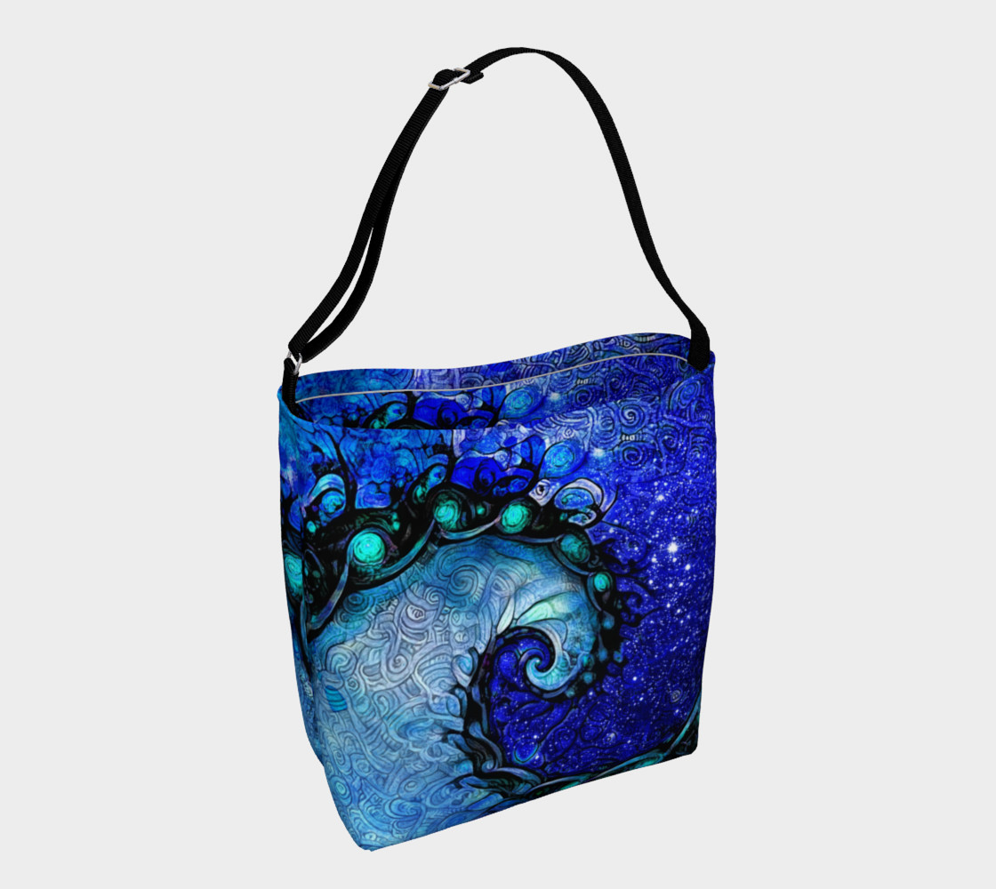 Aperçu de Day and Night Tote Bag with Nocturne of Scorpio, a Fractal Spiral Painting #1