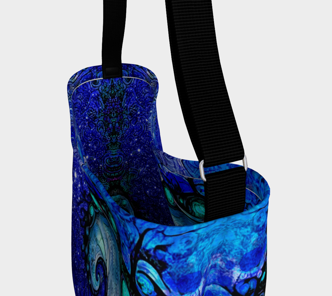 Aperçu de Day and Night Tote Bag with Nocturne of Scorpio, a Fractal Spiral Painting #3