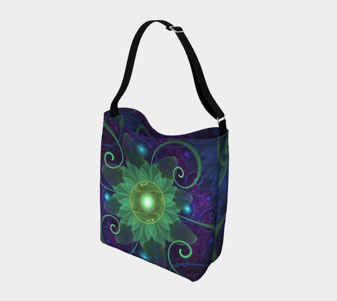 Aperçu de Shoulder Tote Bag with a Glowing Blue-Green Fractal Lotus Lily Pad Pond #2