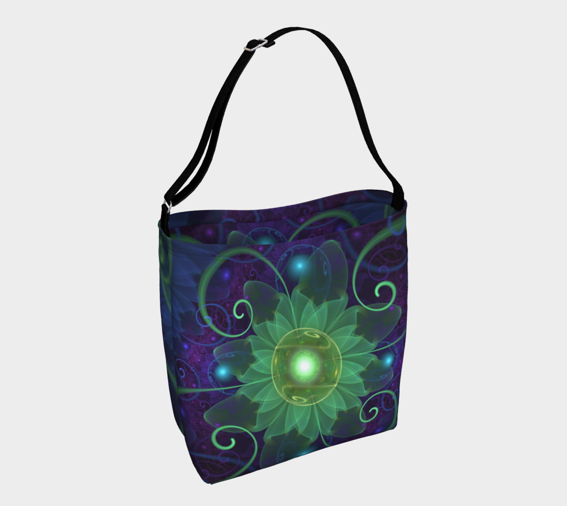 Aperçu de Shoulder Tote Bag with a Glowing Blue-Green Fractal Lotus Lily Pad Pond #1