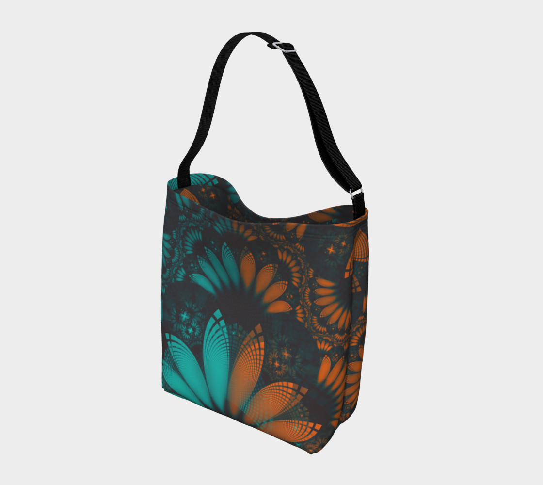 Aperçu de Day and Night Tote Bag with Beautiful Teal and Orange Paisley Fractal Feathers #2