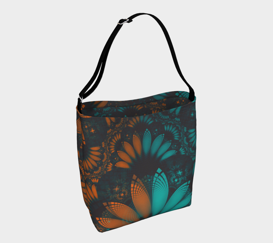 Aperçu de Day and Night Tote Bag with Beautiful Teal and Orange Paisley Fractal Feathers #1