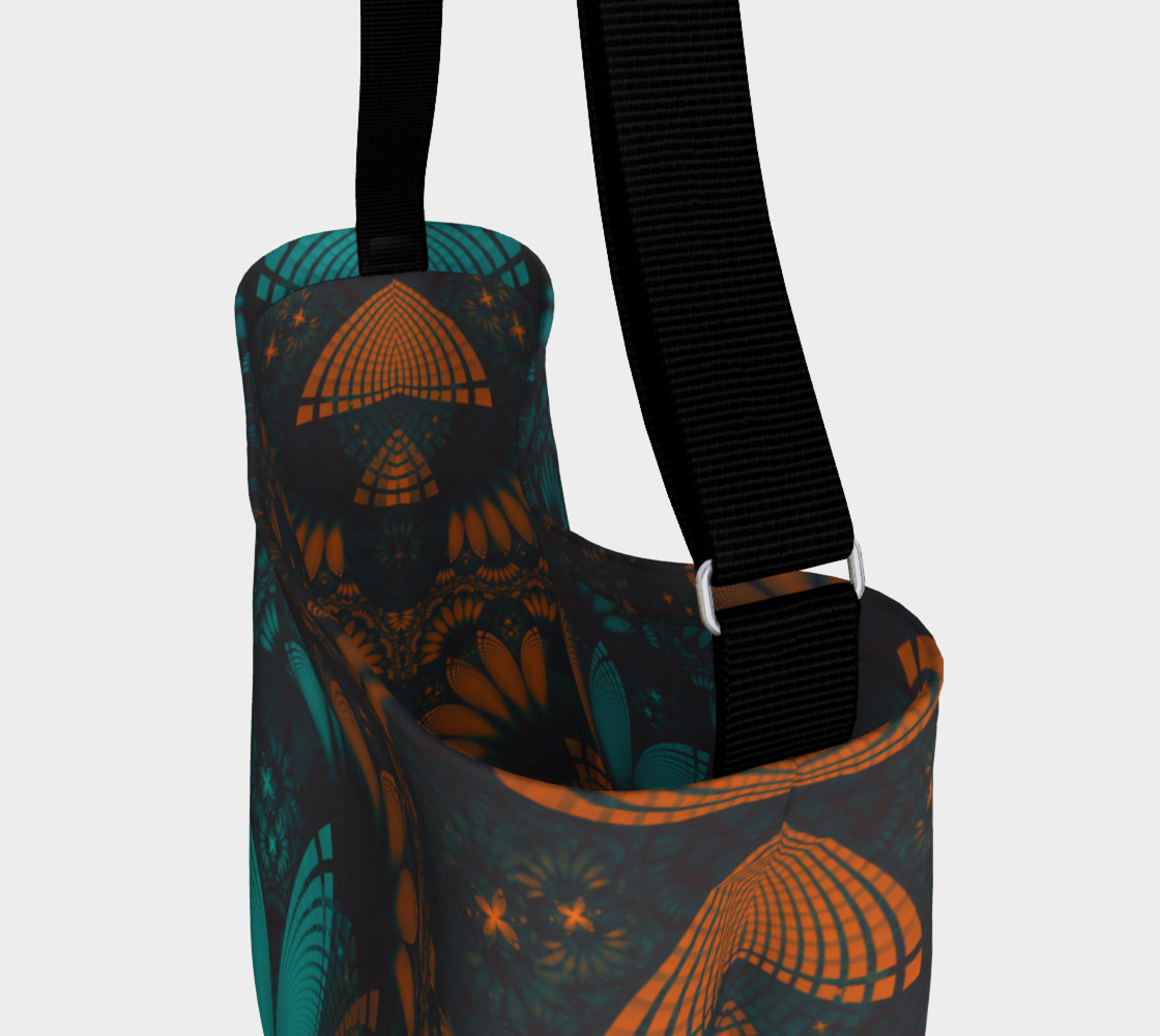 Aperçu de Day and Night Tote Bag with Beautiful Teal and Orange Paisley Fractal Feathers #3