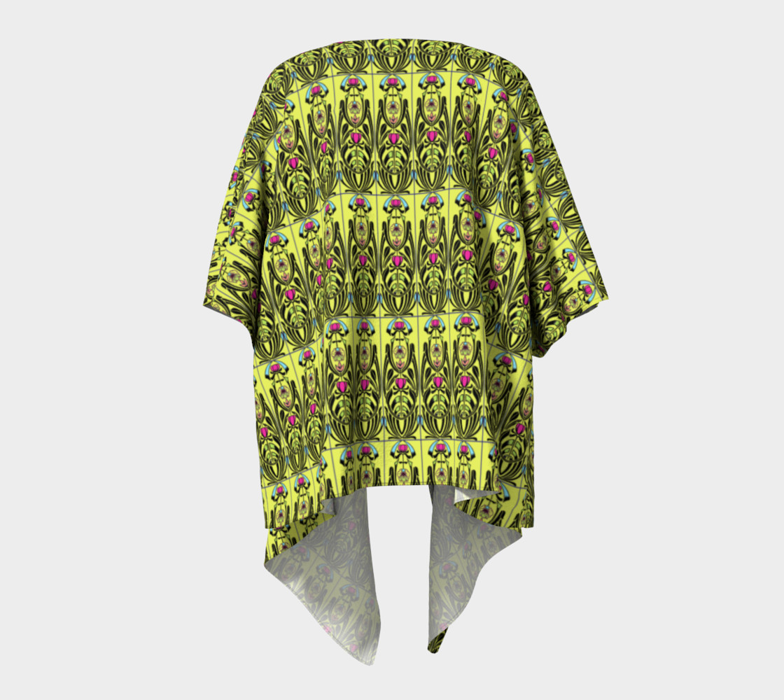 Aperçu de Yellow Nouveau Draped Kimono #4