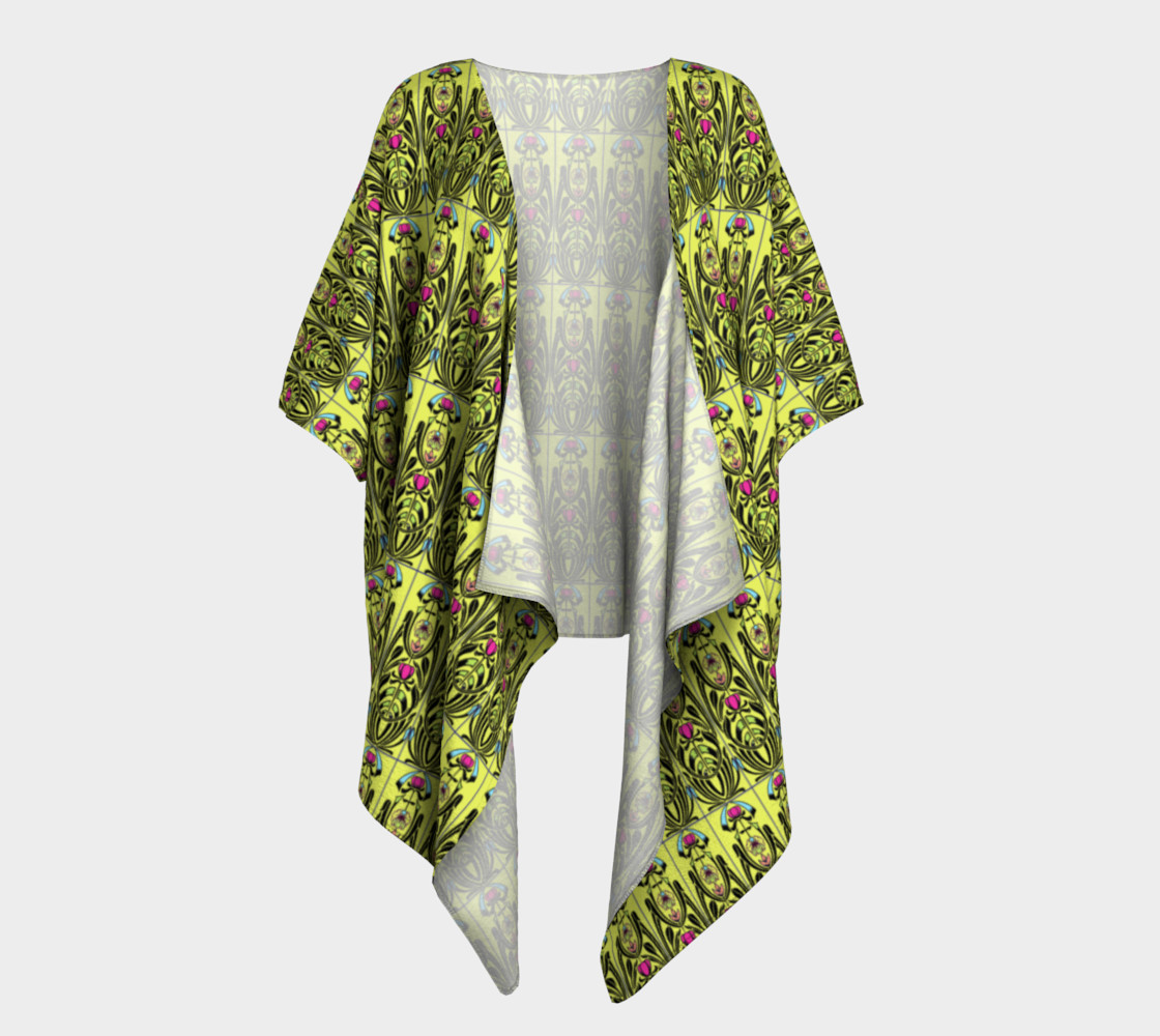 Yellow Nouveau Draped Kimono 3D preview