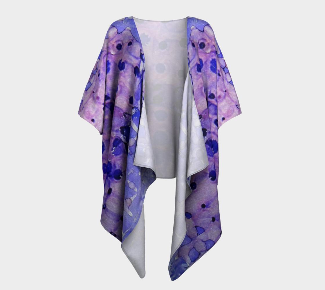 Purple Grid Ink #2 Draped Kimono preview #1