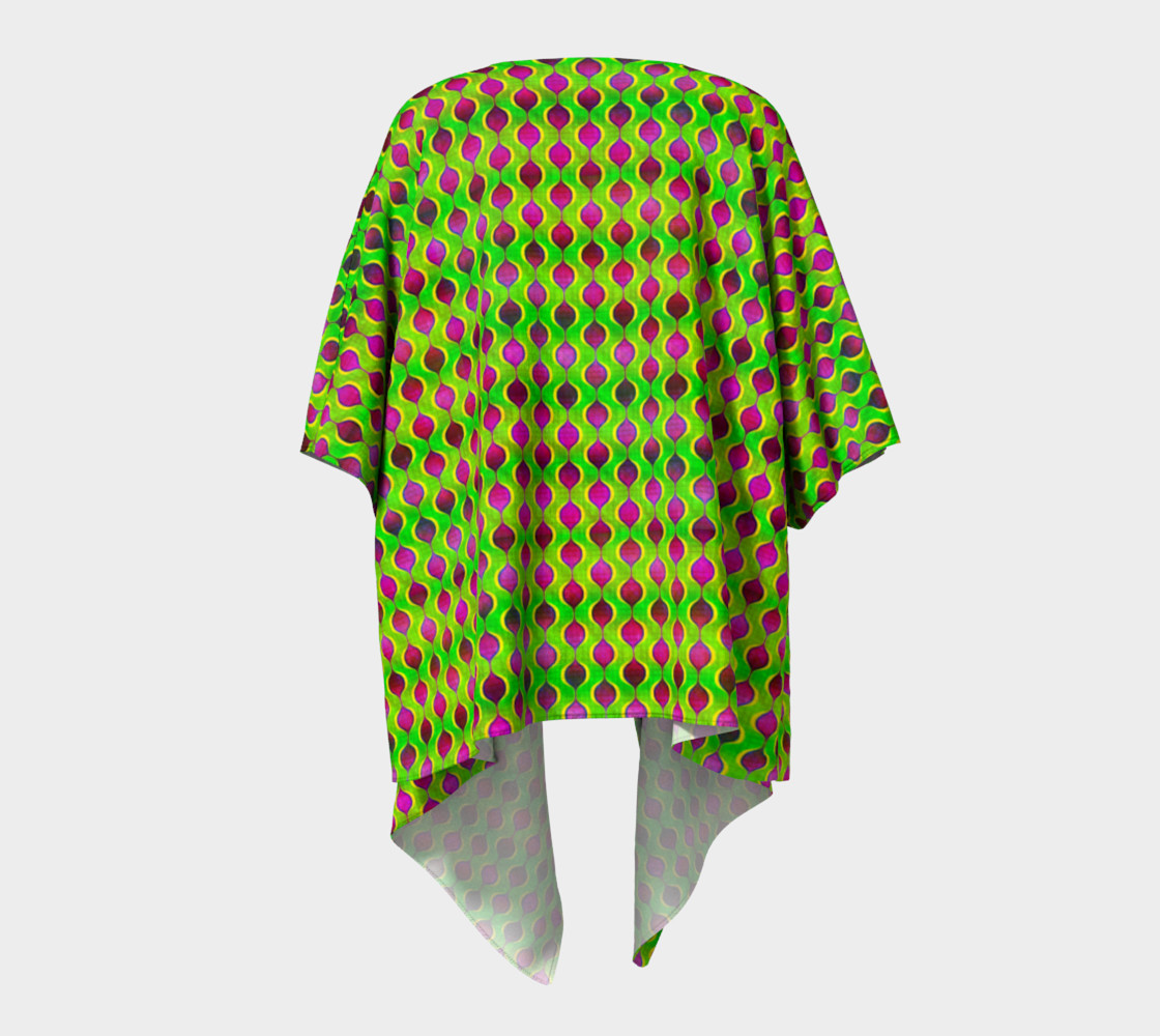 Aperçu de Fun Bright Green Purple Ogee Pattern Draped Kimono #4