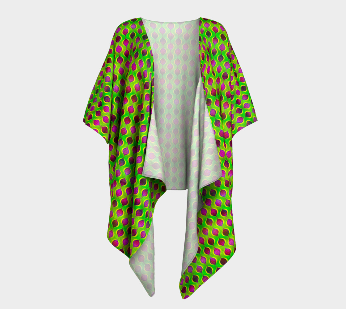 Aperçu de Fun Bright Green Purple Ogee Pattern Draped Kimono #1