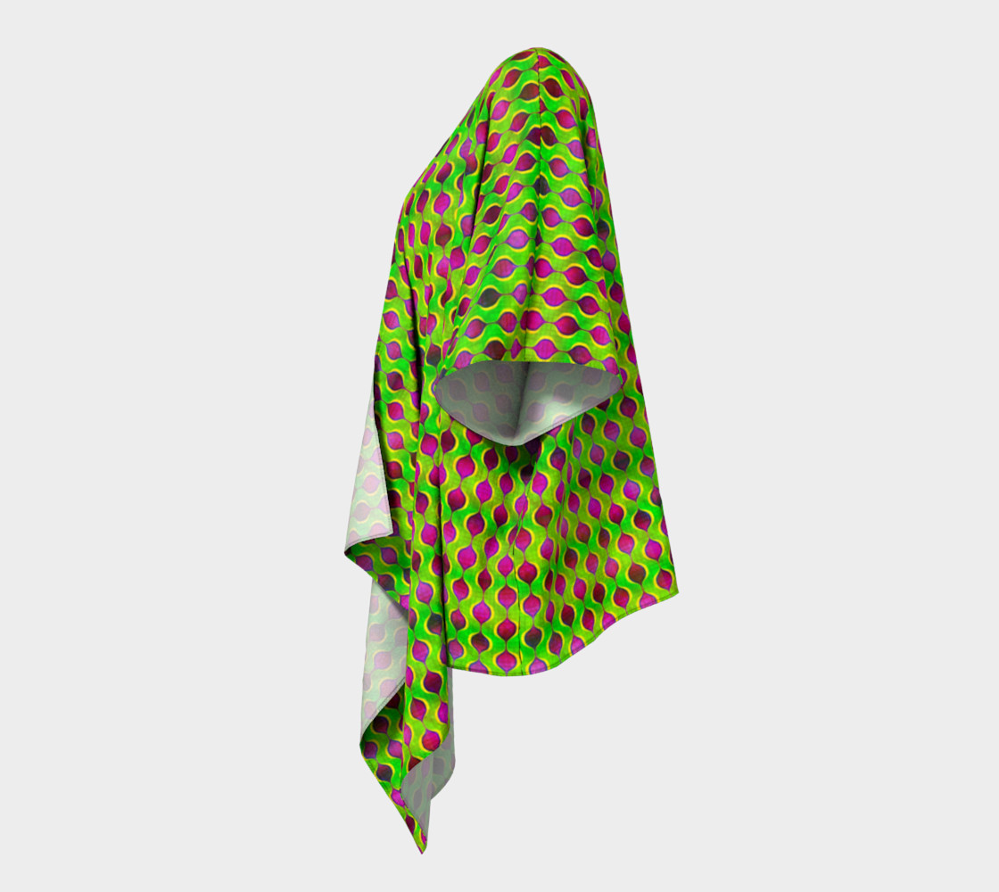 Fun Bright Green Purple Ogee Pattern Draped Kimono preview #2