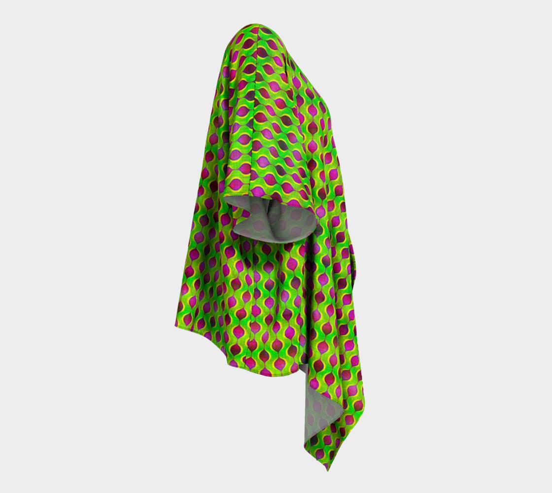 Aperçu de Fun Bright Green Purple Ogee Pattern Draped Kimono #3