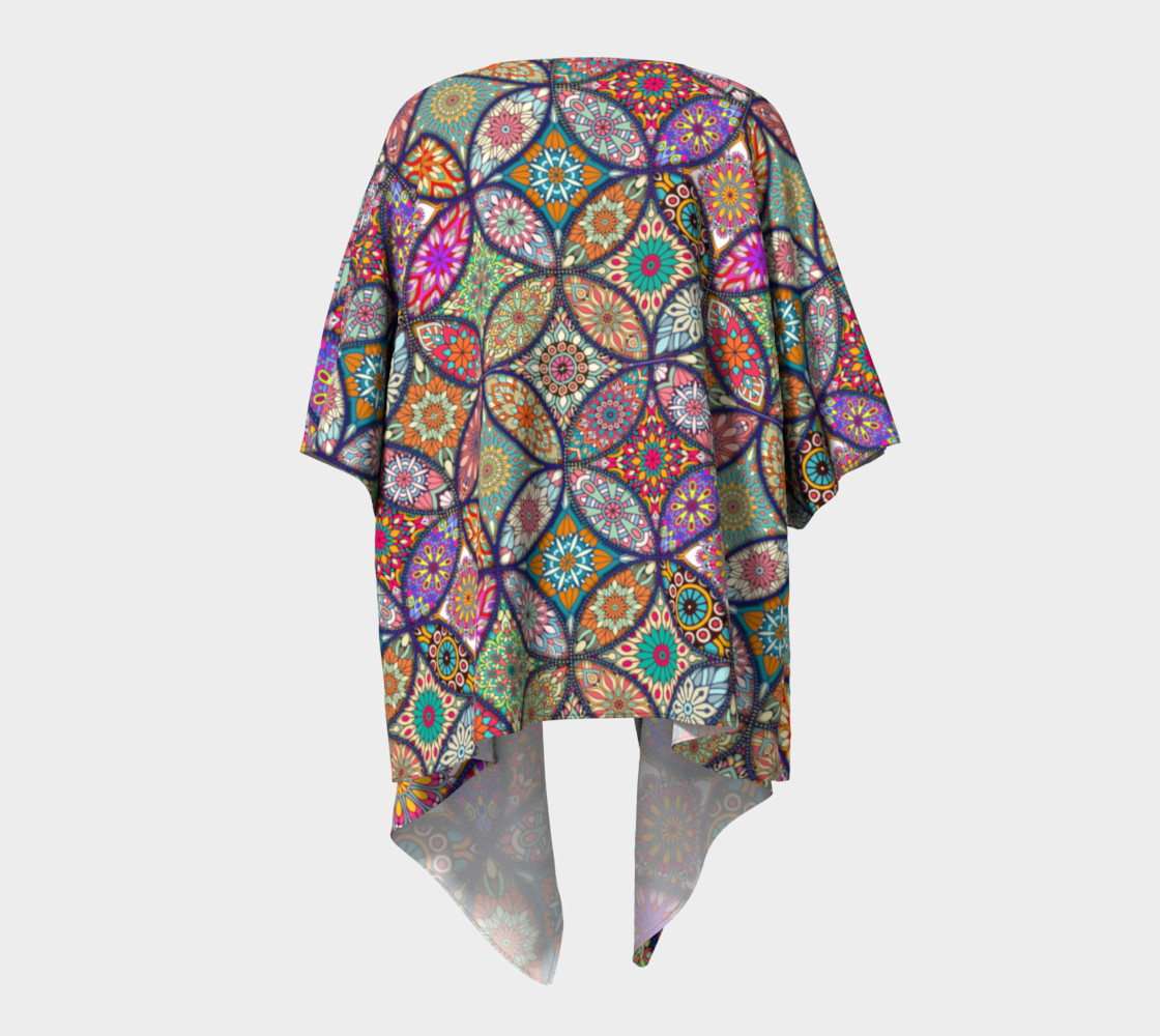 Aperçu de Vibrant Mandalas Draped Kimono #4
