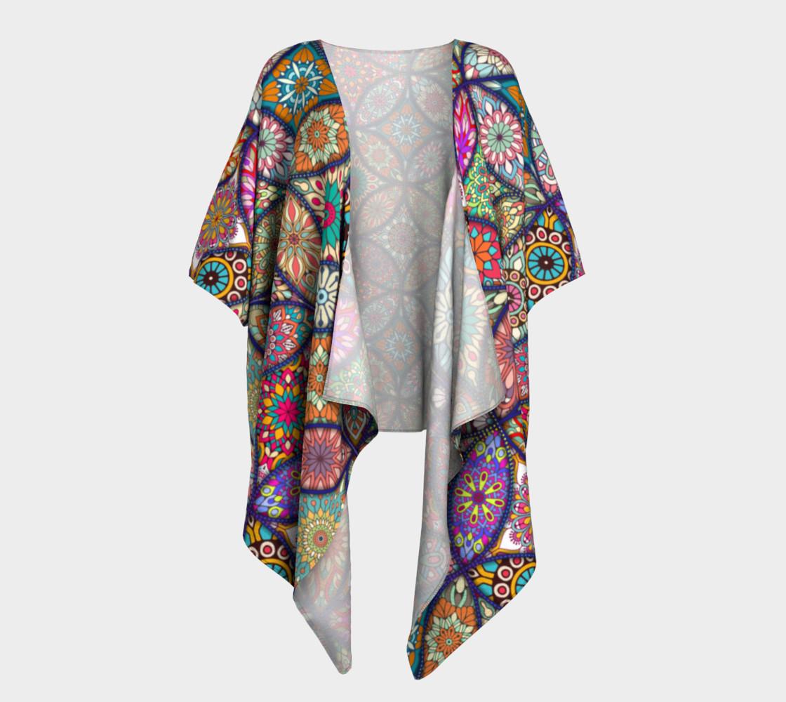 Aperçu de Vibrant Mandalas Draped Kimono #1