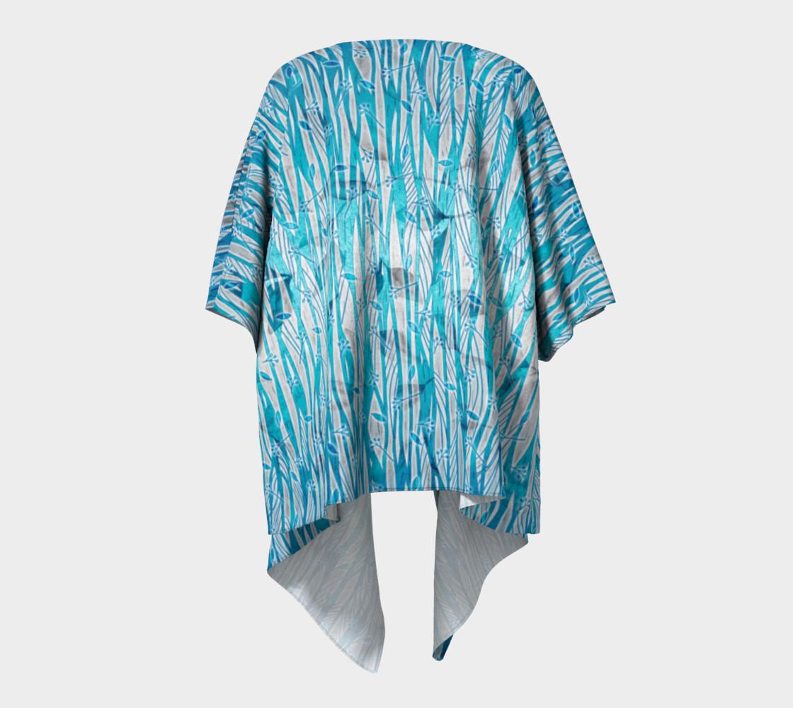 Blue Turquoise Silver Leafy Floral Draped Kimono preview #4