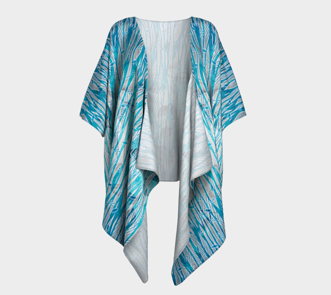 Aperçu de Blue Turquoise Silver Leafy Floral Draped Kimono #1