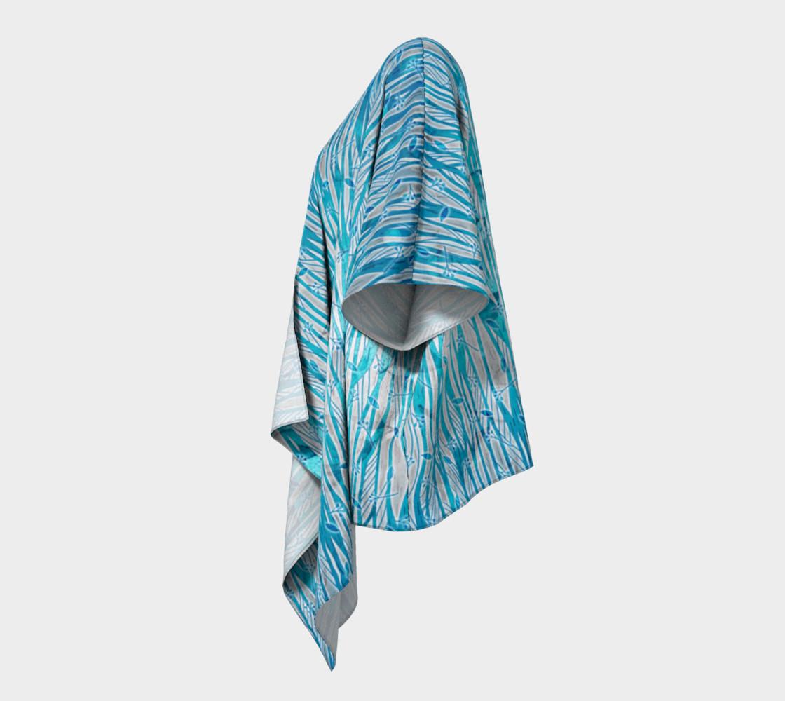 Aperçu de Blue Turquoise Silver Leafy Floral Draped Kimono #2