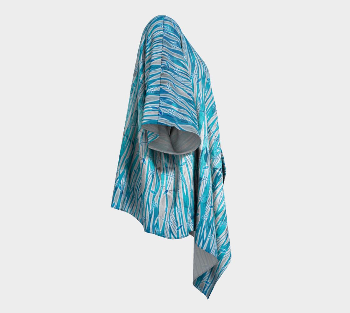 Aperçu de Blue Turquoise Silver Leafy Floral Draped Kimono #3