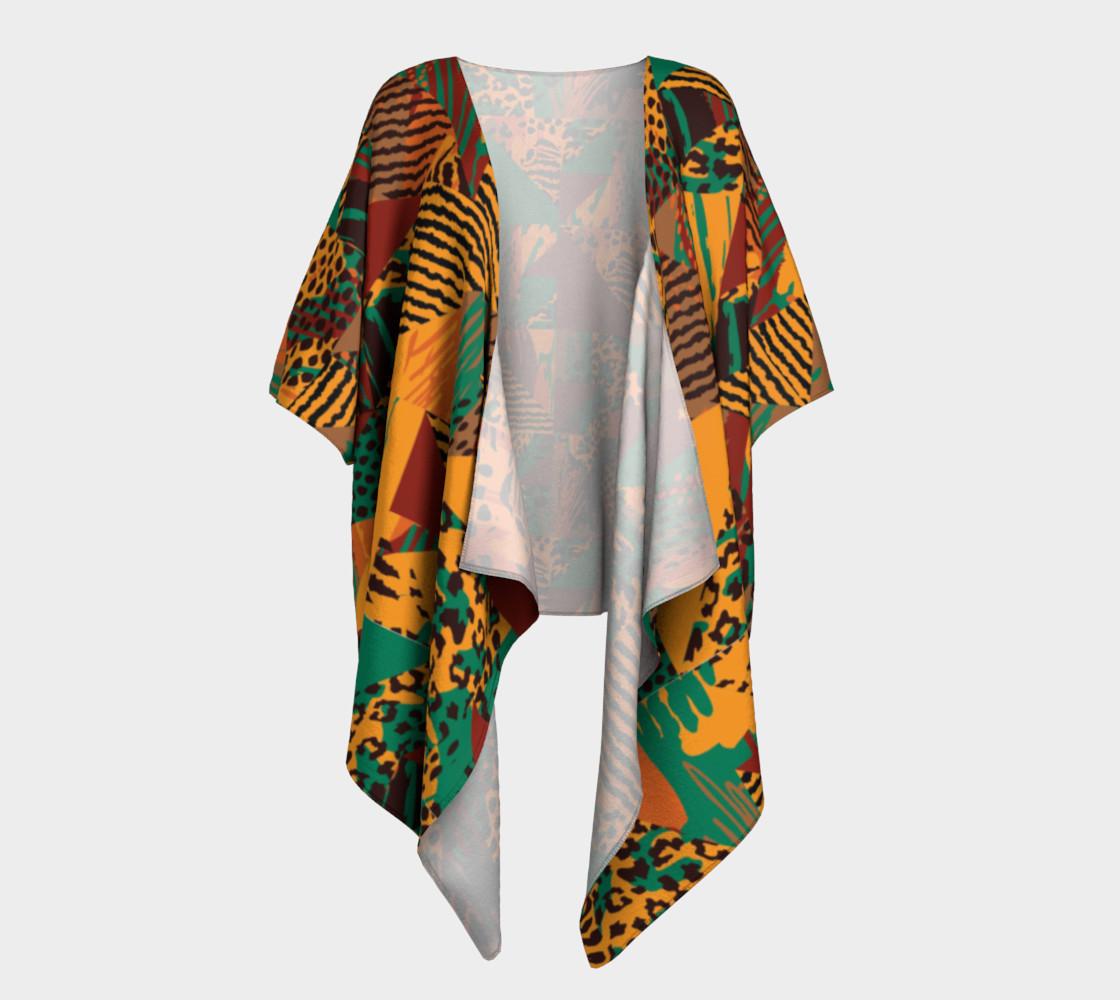 Abstract Safari Print Draped Kimono preview #1