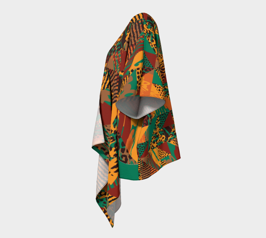 Abstract Safari Print Draped Kimono preview #2