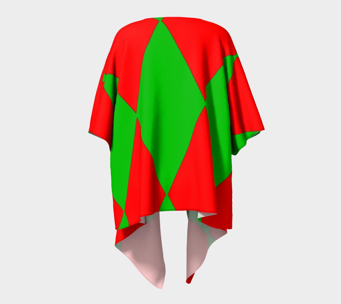 Christmas Harlequin Diamond Draped Kimono Robe preview #4