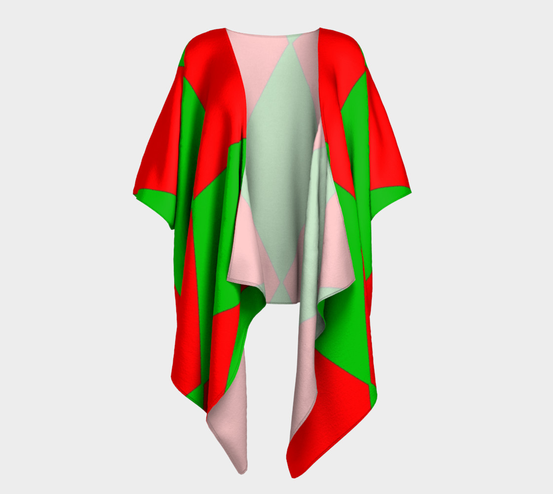 Christmas Harlequin Diamond Draped Kimono Robe preview #1