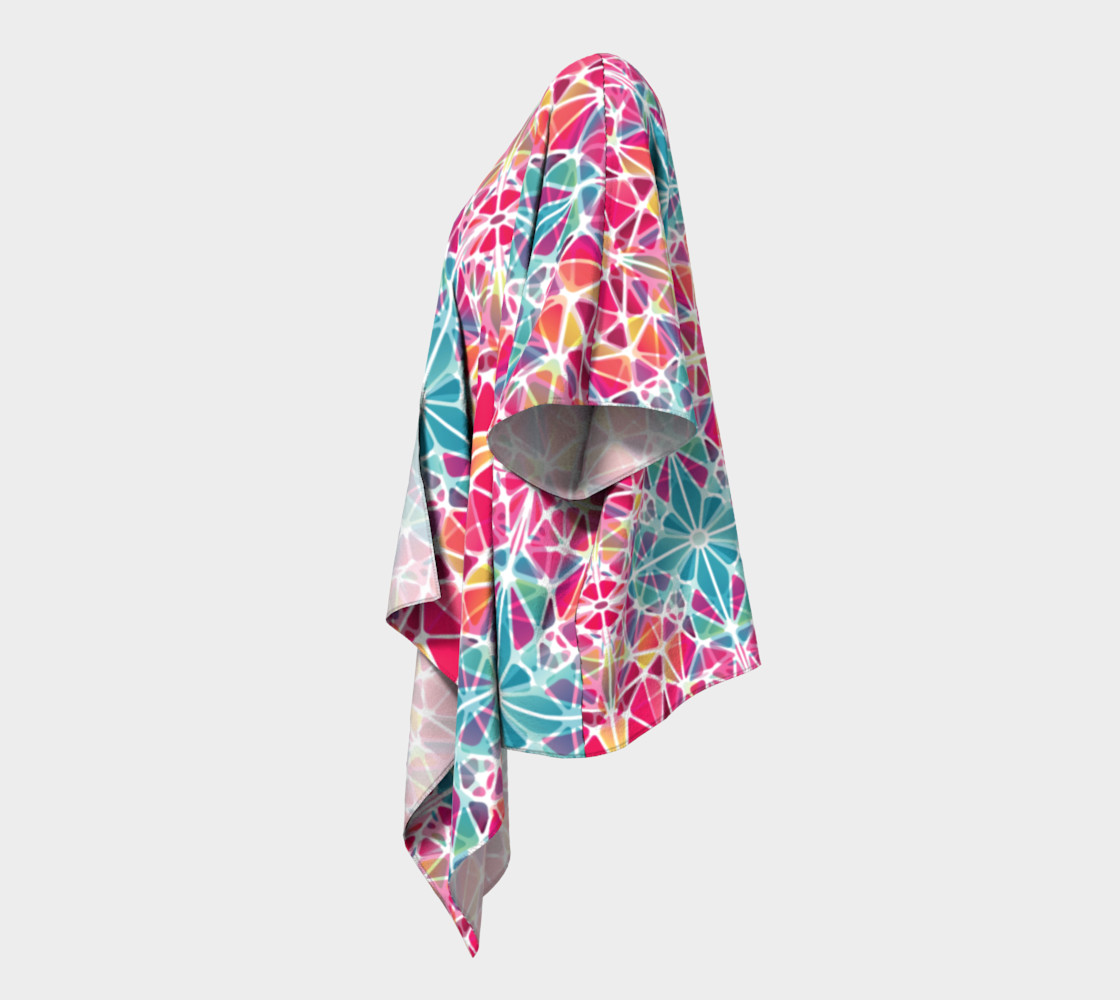 Pink and Blue Kaleidoscope Draped Kimono preview #2