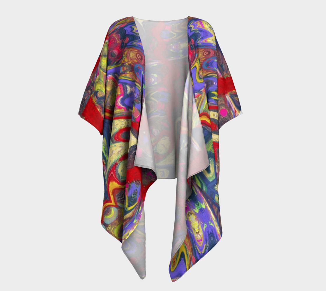 Roller Coaster Circus Pinball-Print Draped Kimono preview #1