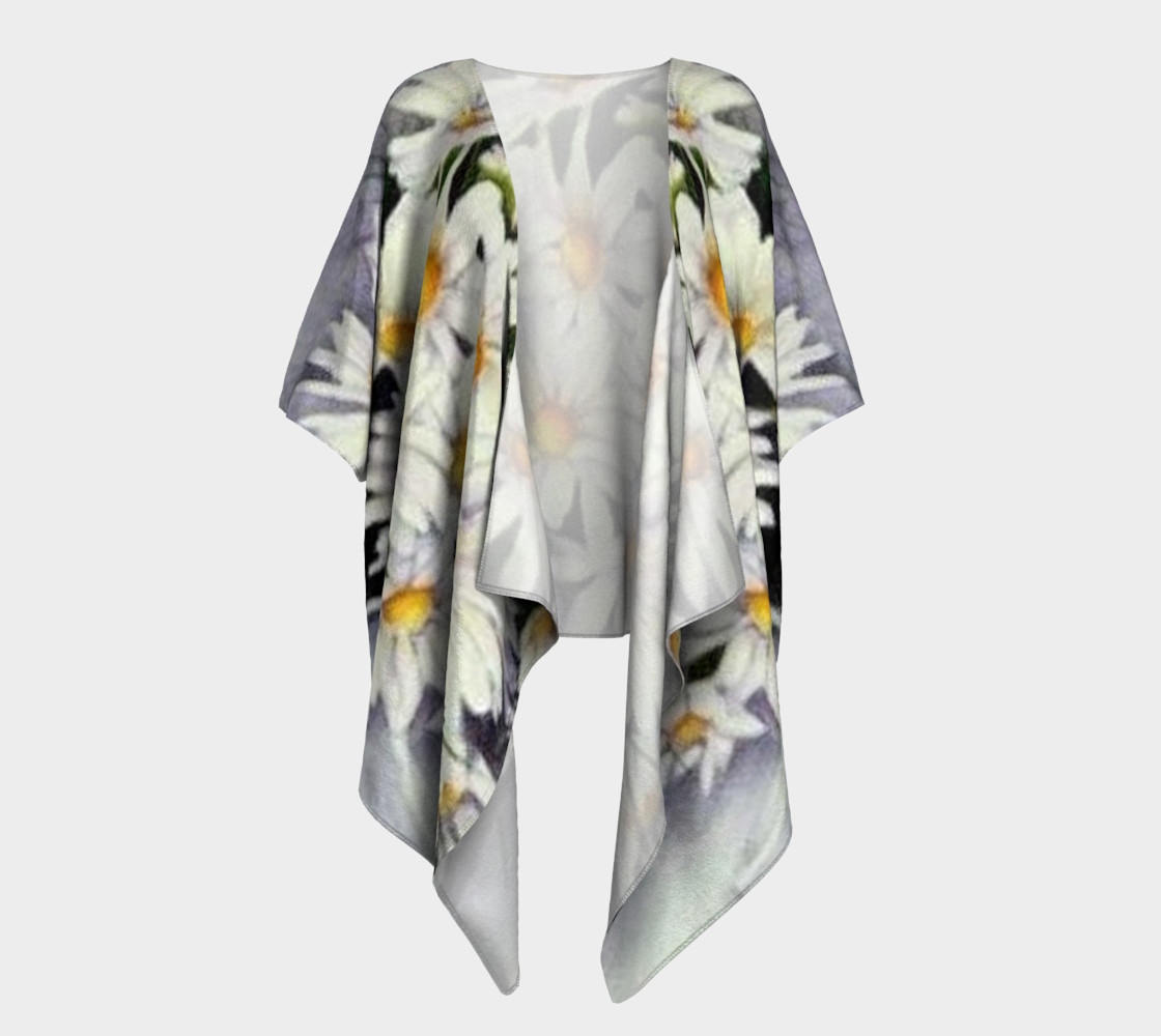 White Daisy Bouquet Draped Kimono preview #1