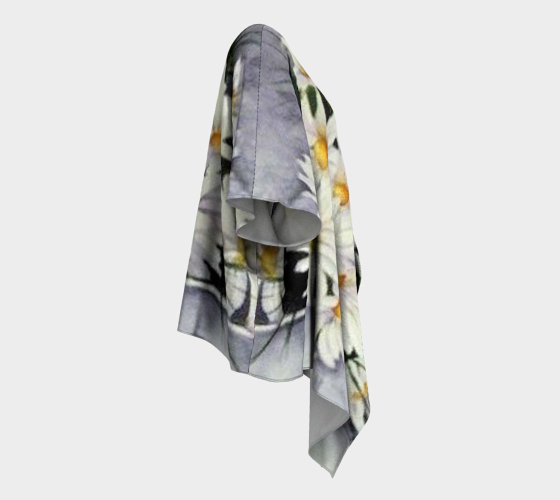 White Daisy Bouquet Draped Kimono preview #3