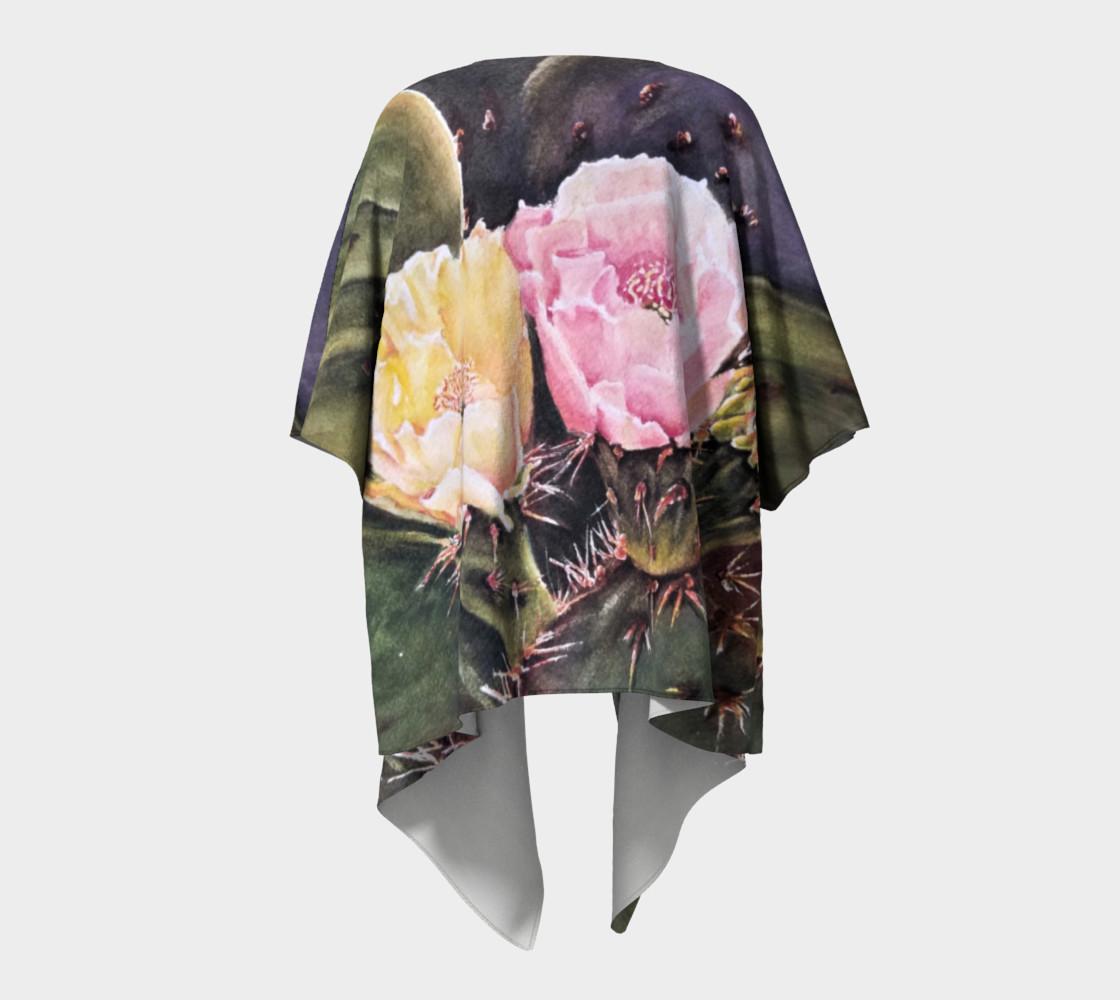 Yellow Pink Cactus Flowers Draped Kimono preview #4