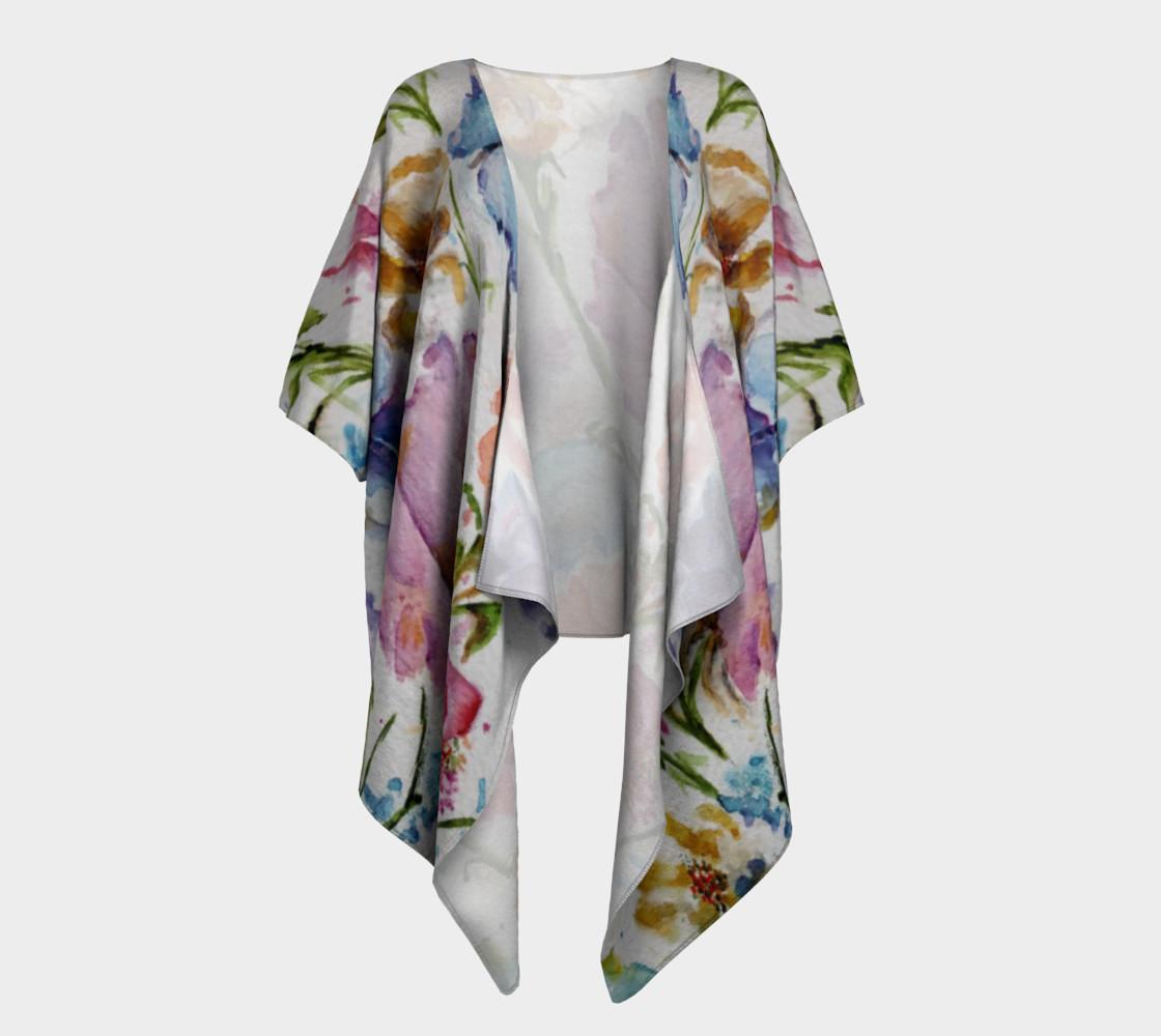 Whimsical Flowers Draped Kimono preview #1