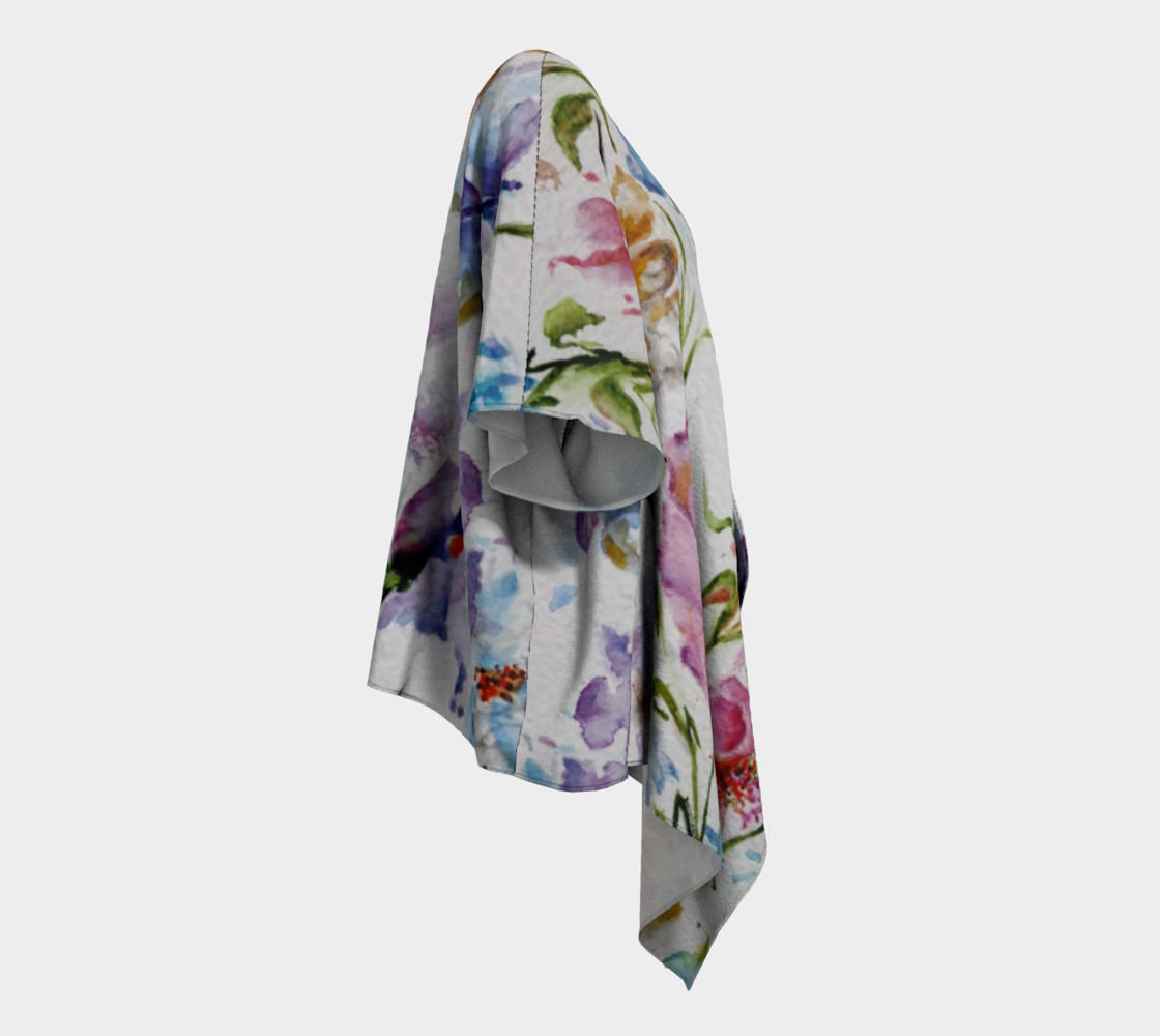 Whimsical Flowers Draped Kimono preview #3