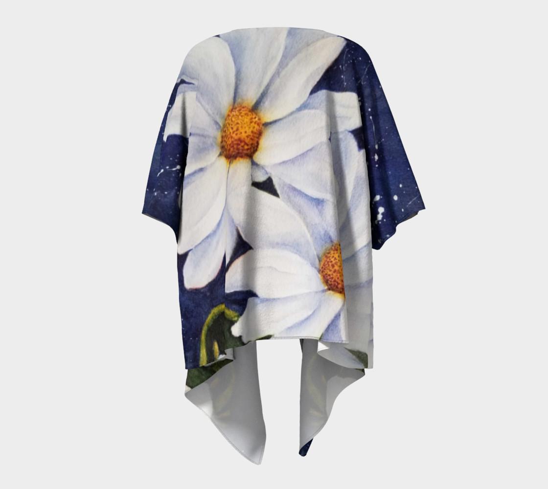 Classic White Daisies Draped Kimono preview #4
