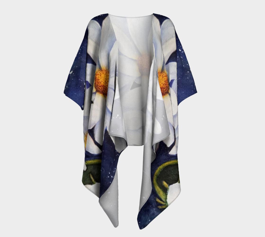 Classic White Daisies Draped Kimono preview #1
