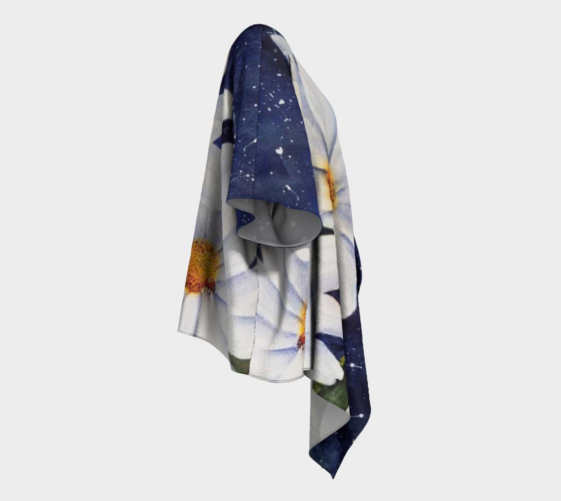 Classic White Daisies Draped Kimono preview #3